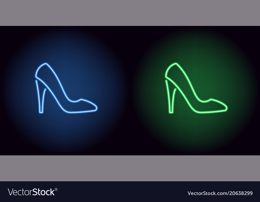 Neon women shoe in blue and green color vector image