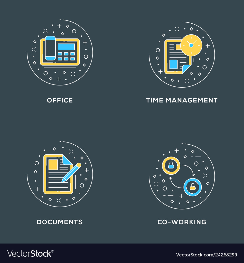 Office time management documents co-working set