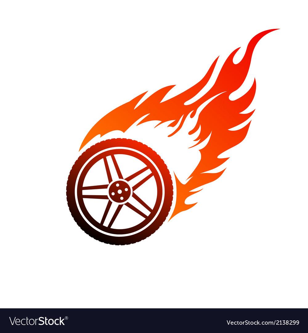 Red and orange burning car wheel vector image