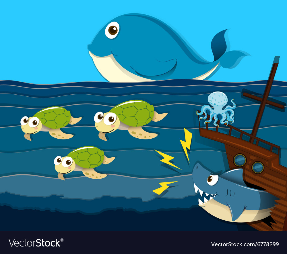 Shark attack ship under the sea vector image