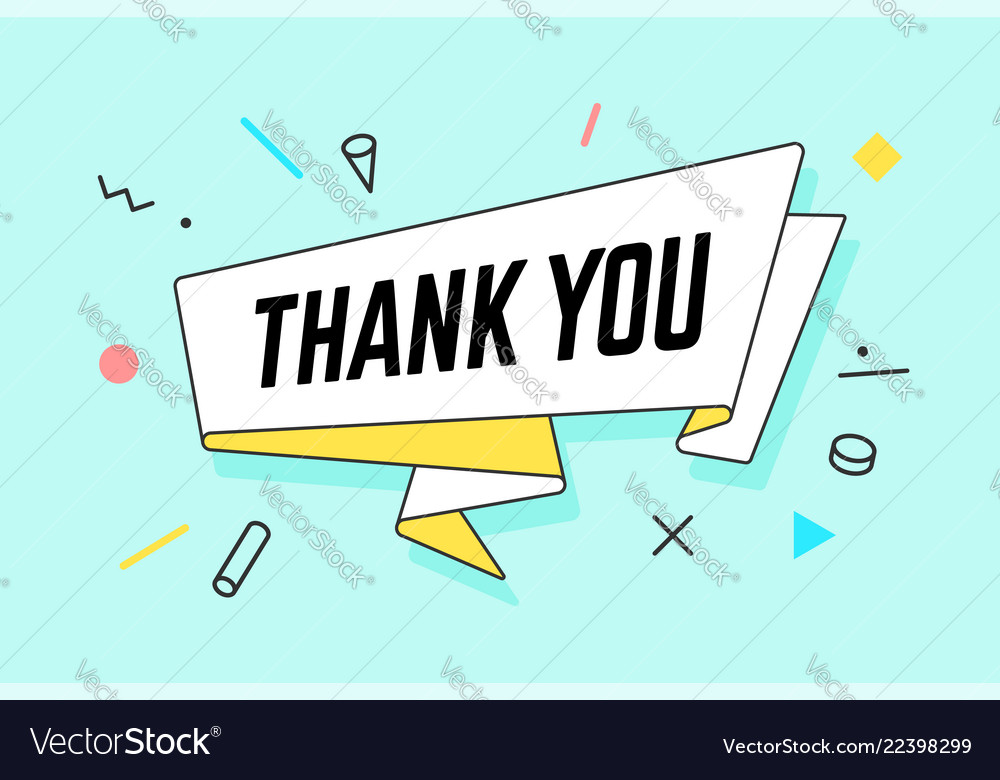 Than you ribbon banner with text thank you