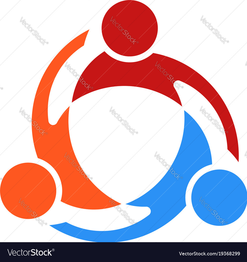 Three people swirl logo vector image