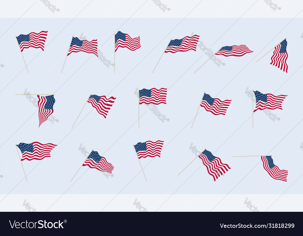 Usa flag on a flagpole in different angles folds