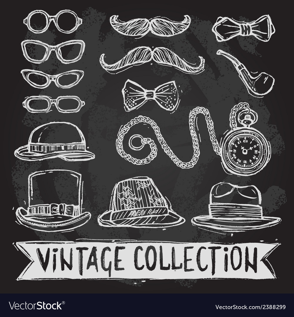 Vintage hats and glasses set