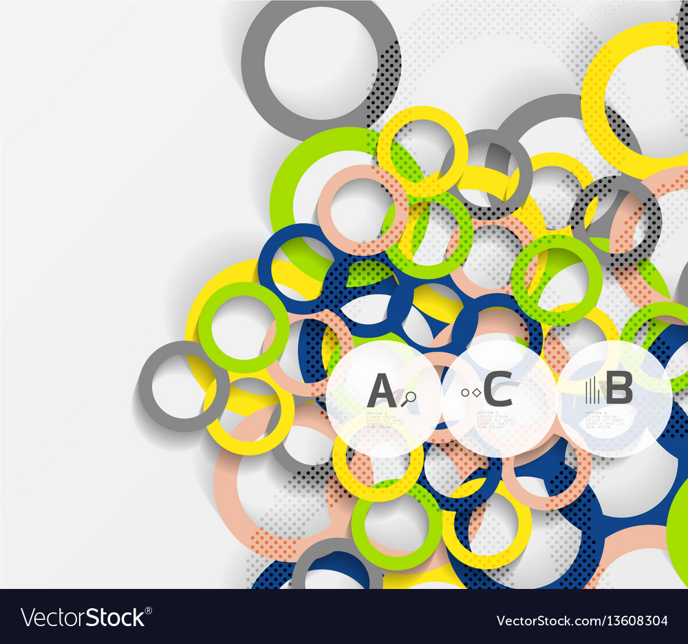 3d rings on grey geometrical modern abstract