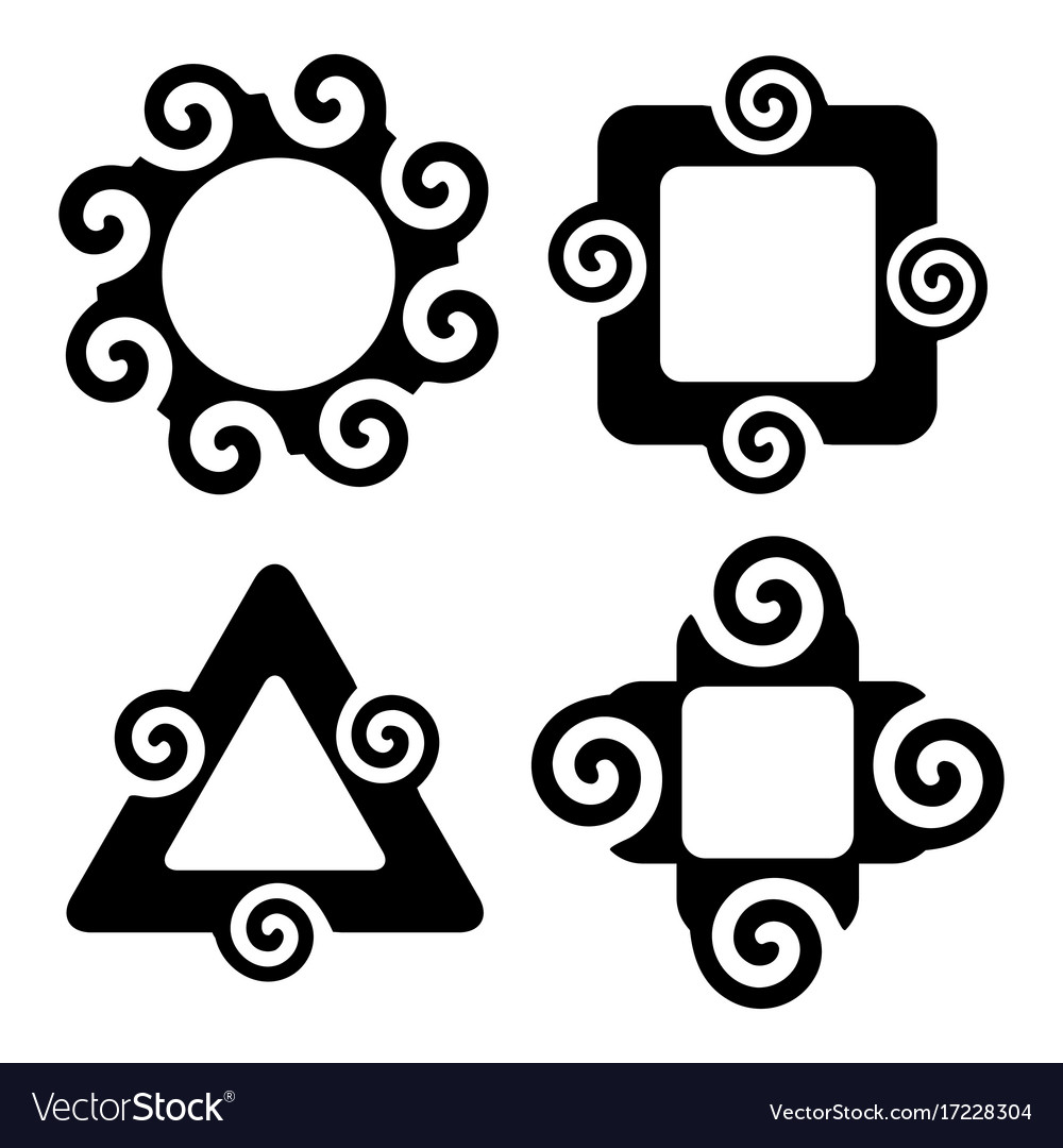 Abstract silhouette spiral shapes frame set Vector Image