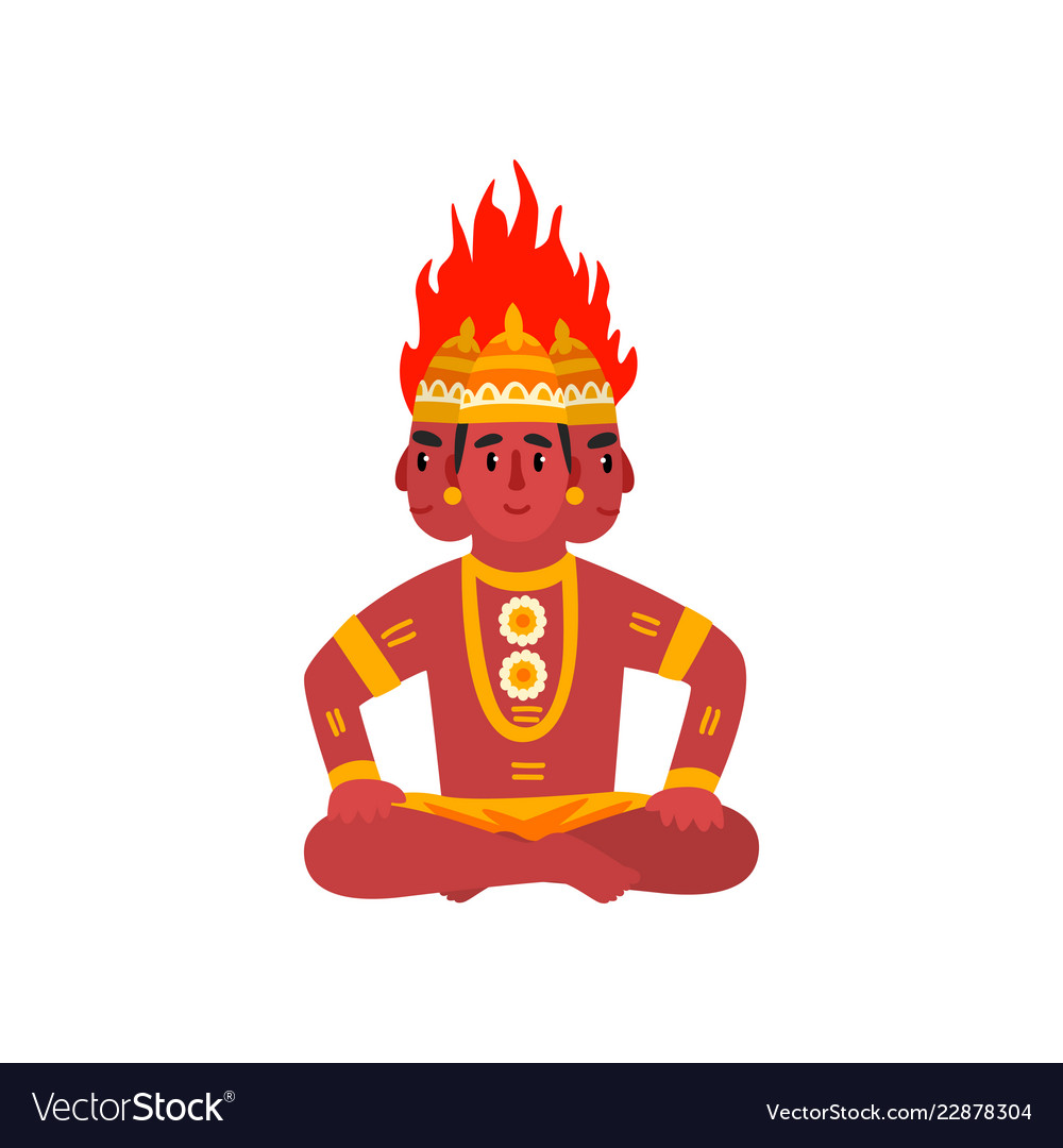 Agni indian god of fire on a