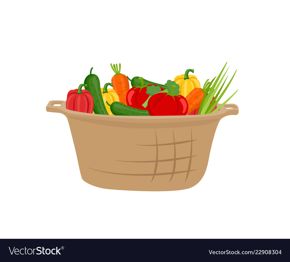 Basket of vegetables icon in cartoon style