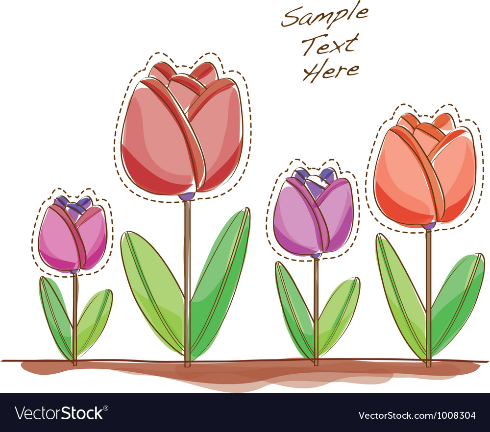 Cartoon Tulips vector image