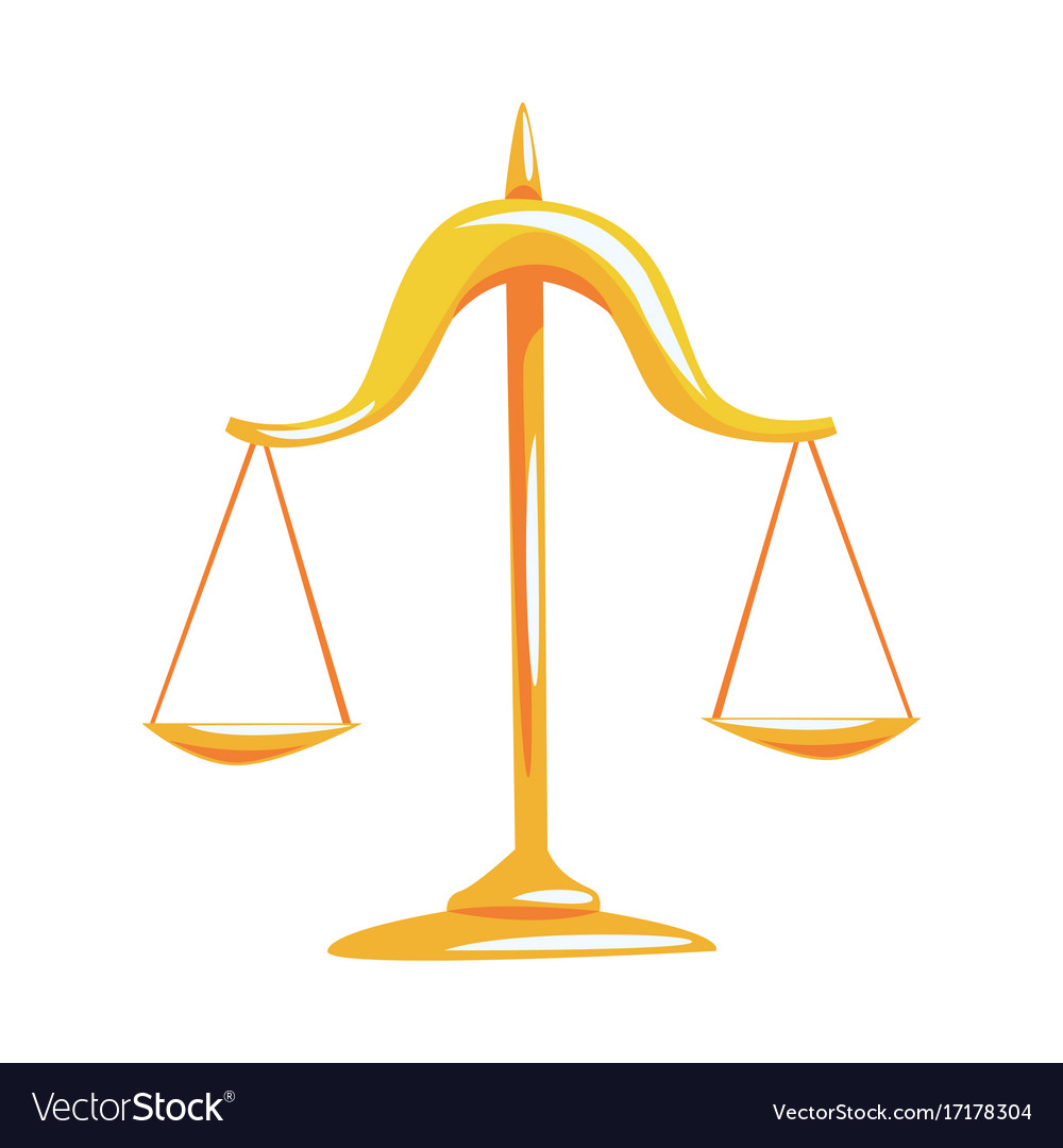 Golden Scales Of Justice Cartoon Royalty Free Vector Image