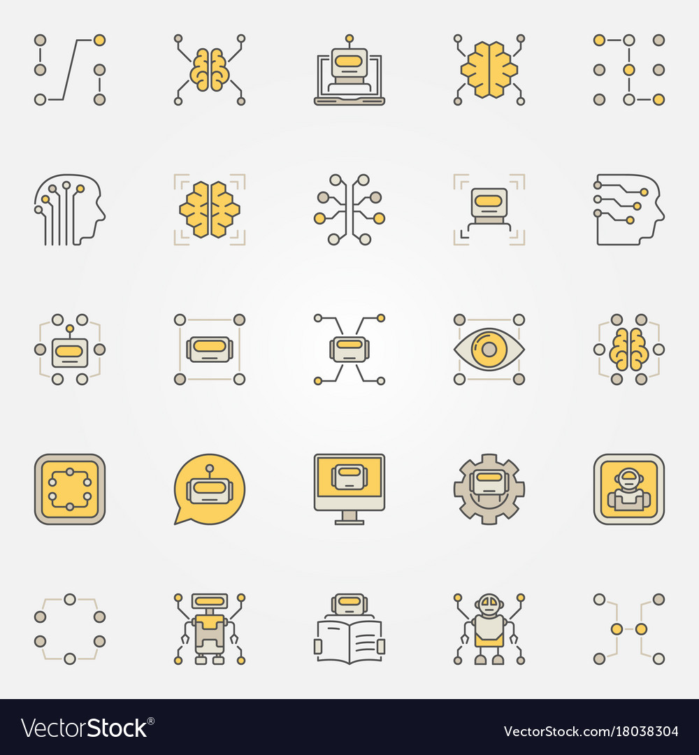 Machine Learning Colorful Icons Set