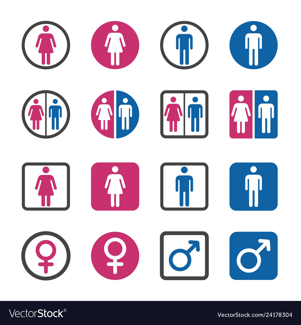 Man and woman icon set