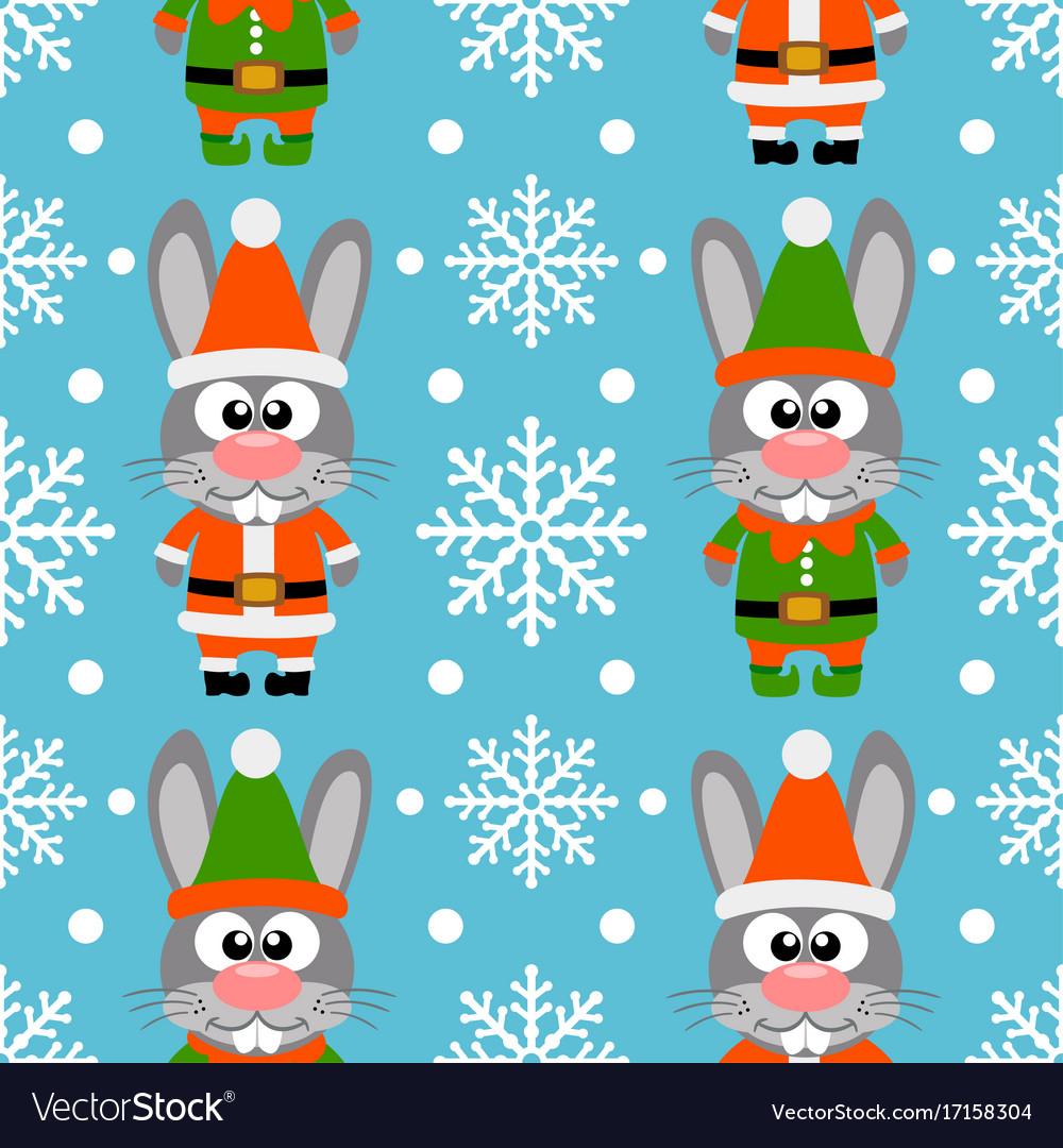 New year seamless card with funny rabbit santa cla