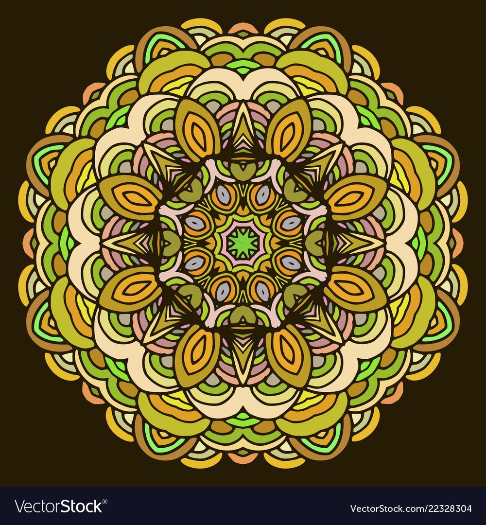 Ornament hand drawn mandala colorful on dark