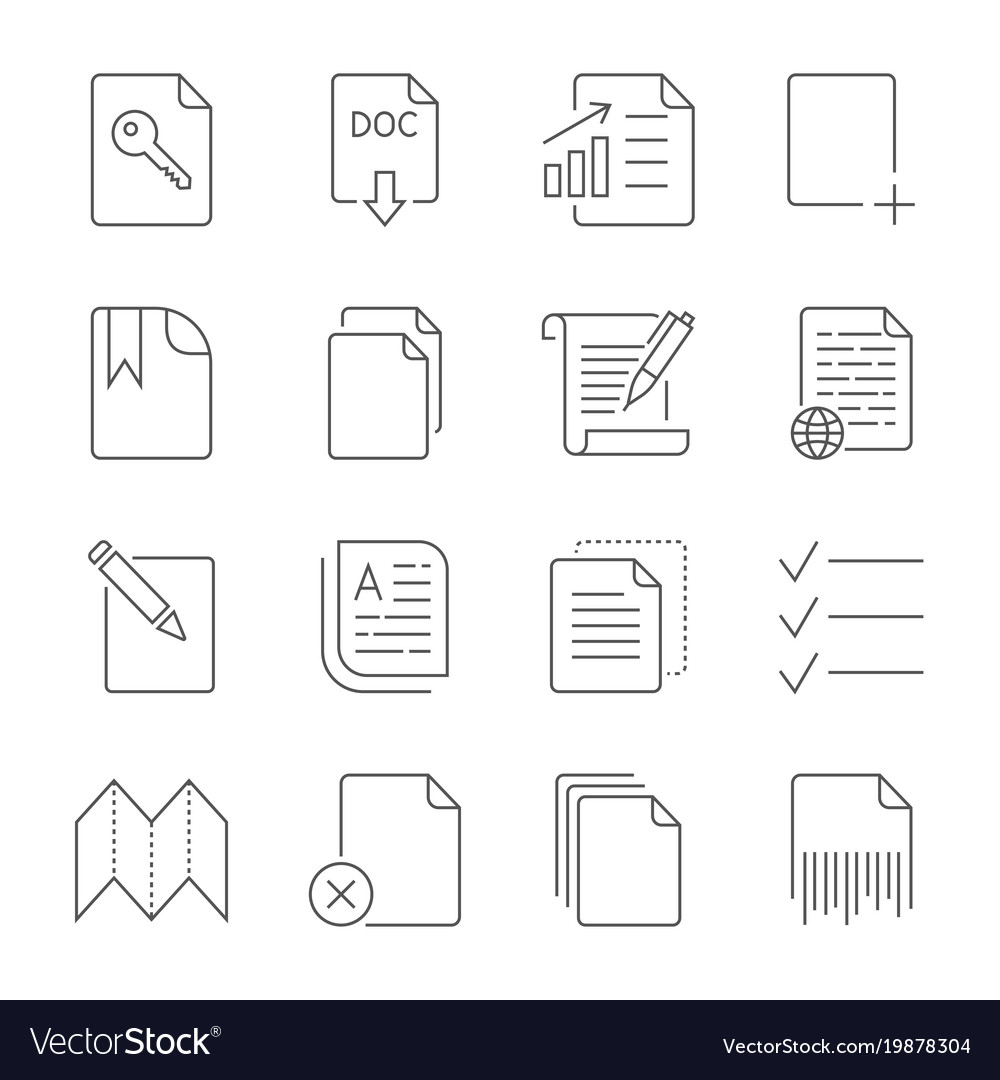 Paper icon document icon editable stroke