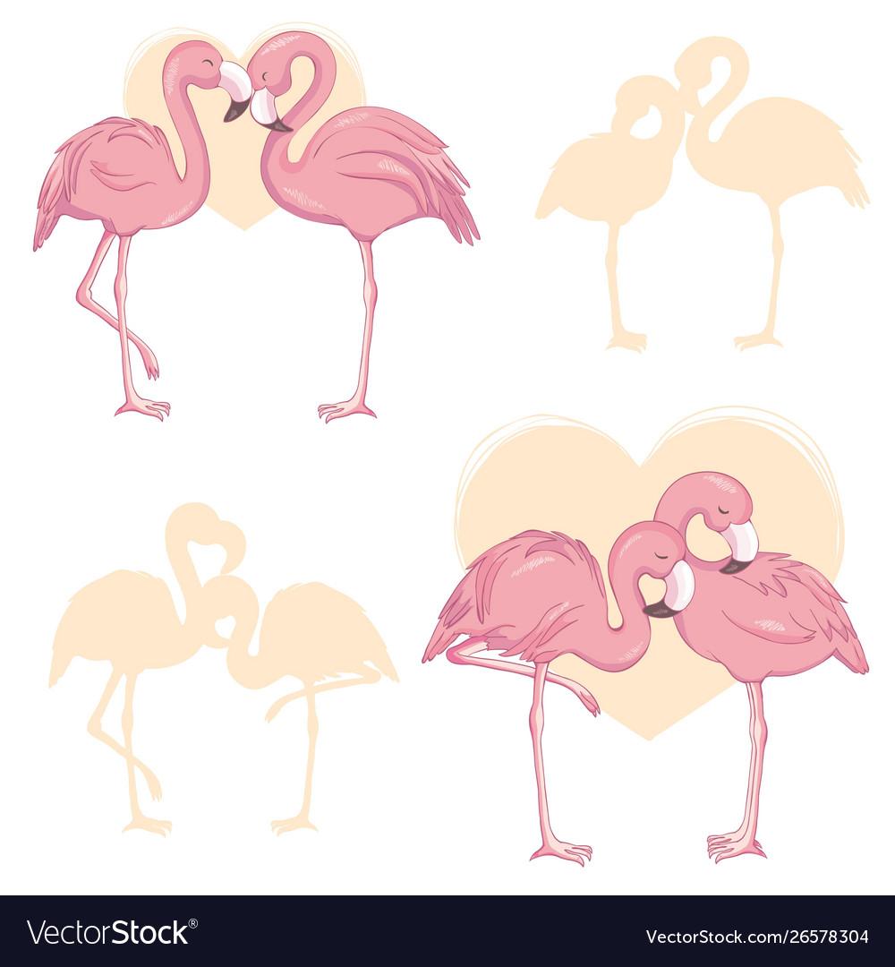Pink flamingo cartoon flat set exotic tropical