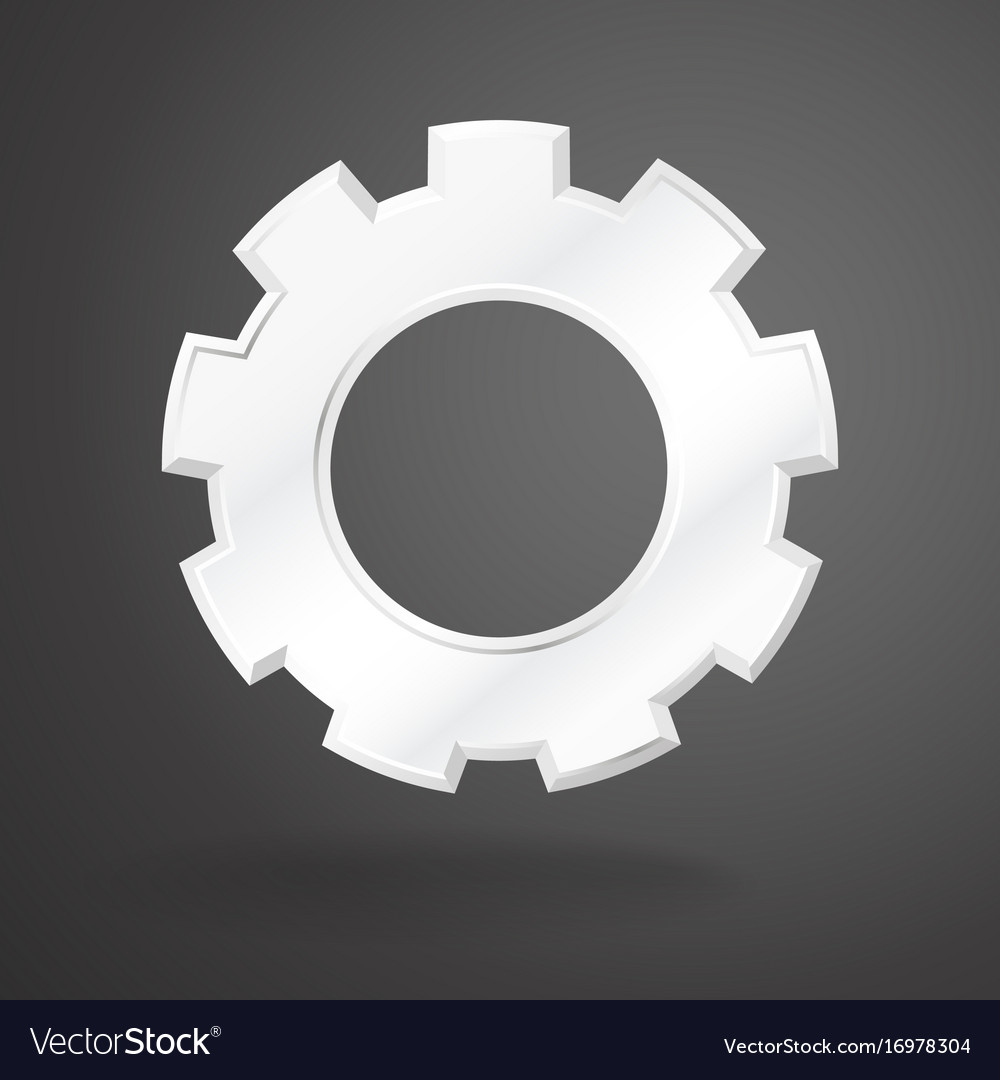 White gear realistic on grey background