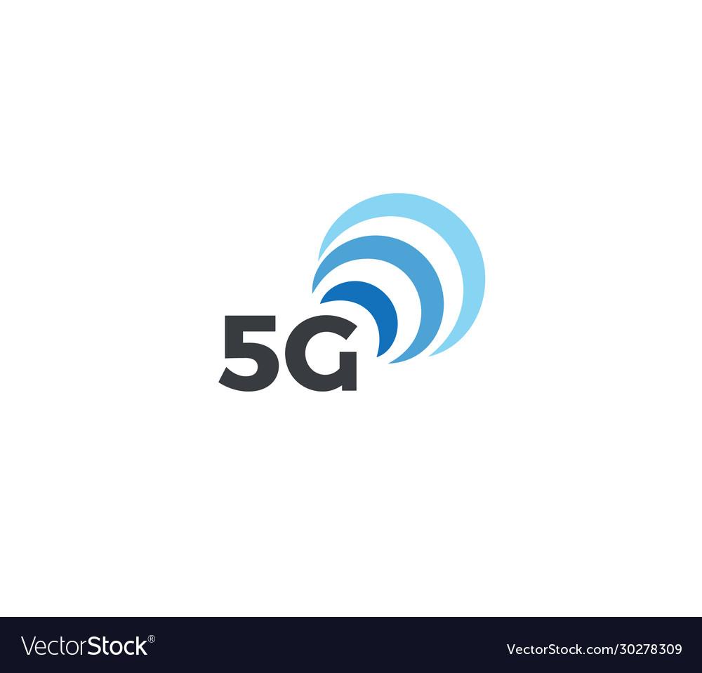 Abstract signal icon blue arc 5g mobile logo