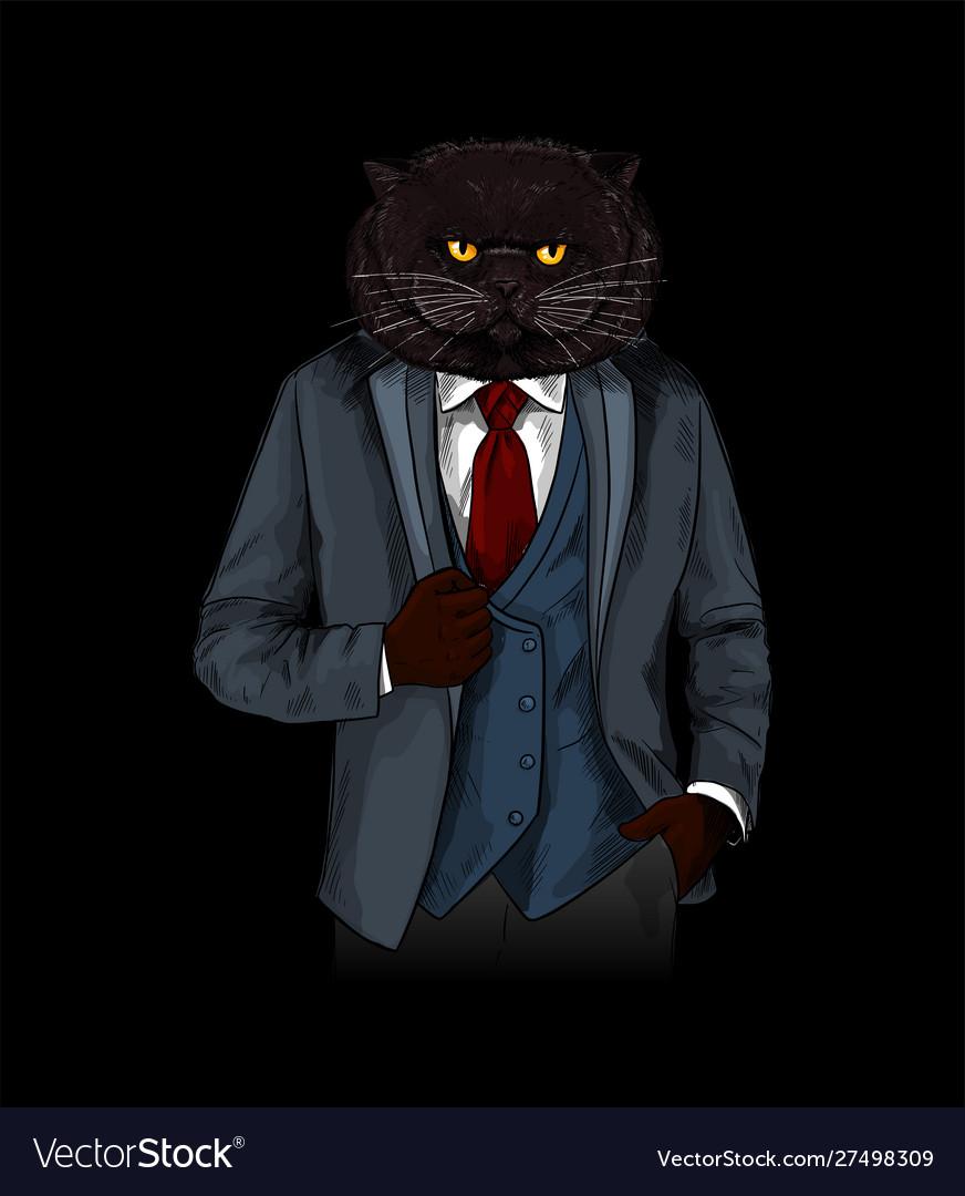 Anthropomorphic cat dressed in elegant grey suite