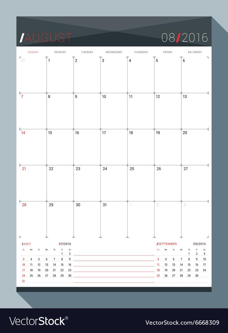 august 2016 design print template monthly calendar