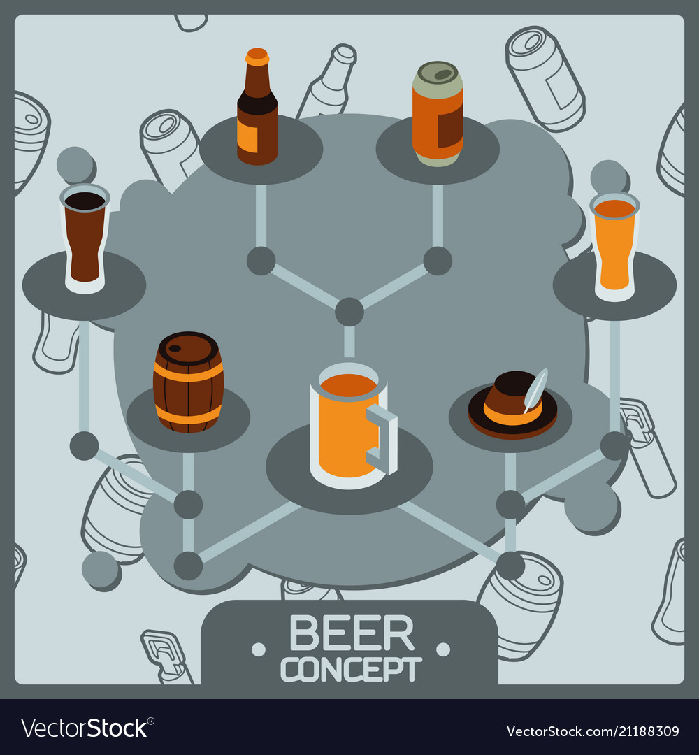 Beer concept isometric icons