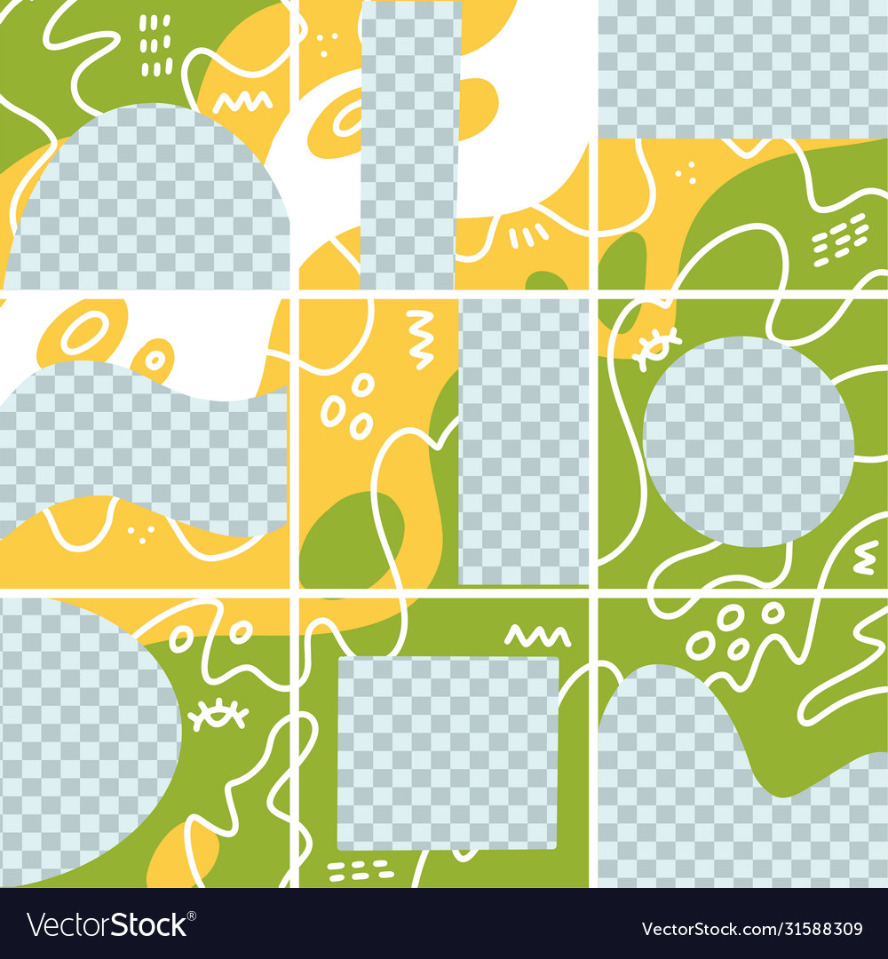 Big trendy editable puzzle template for social