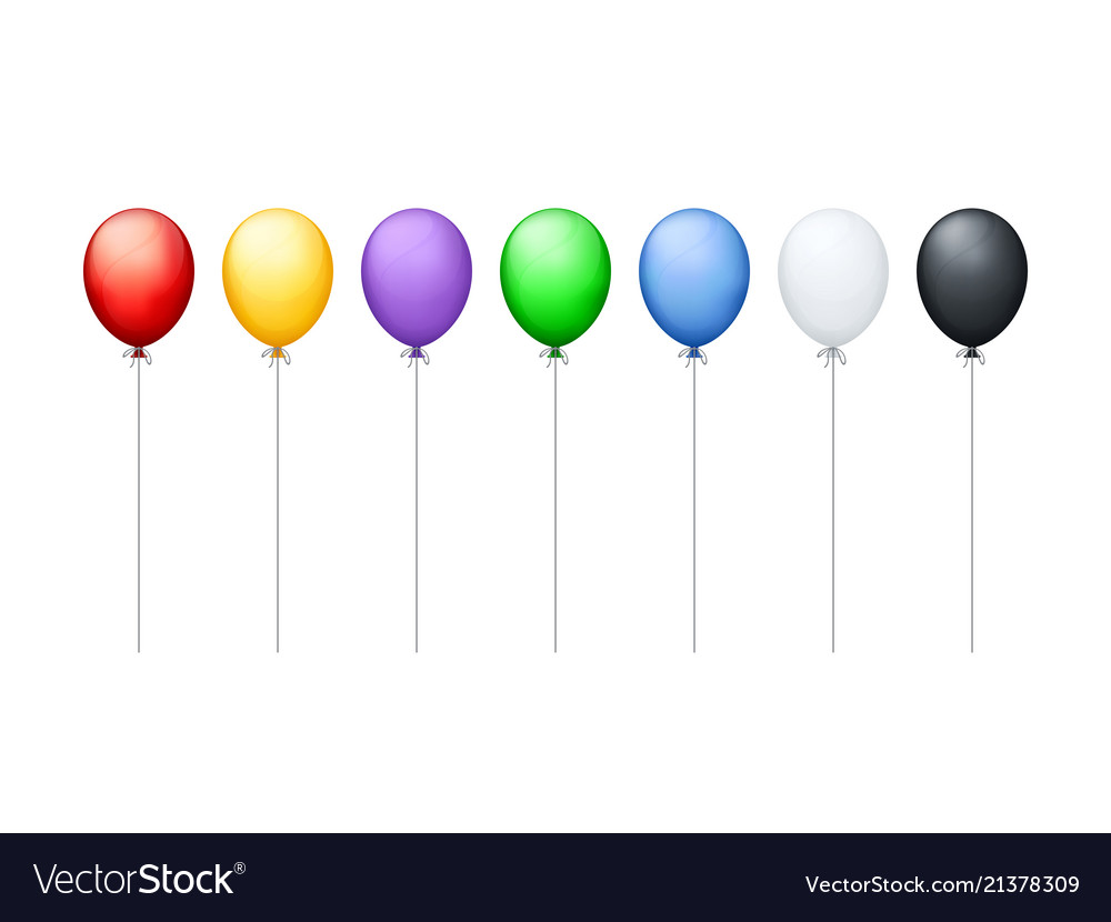Colorful balloons in a row