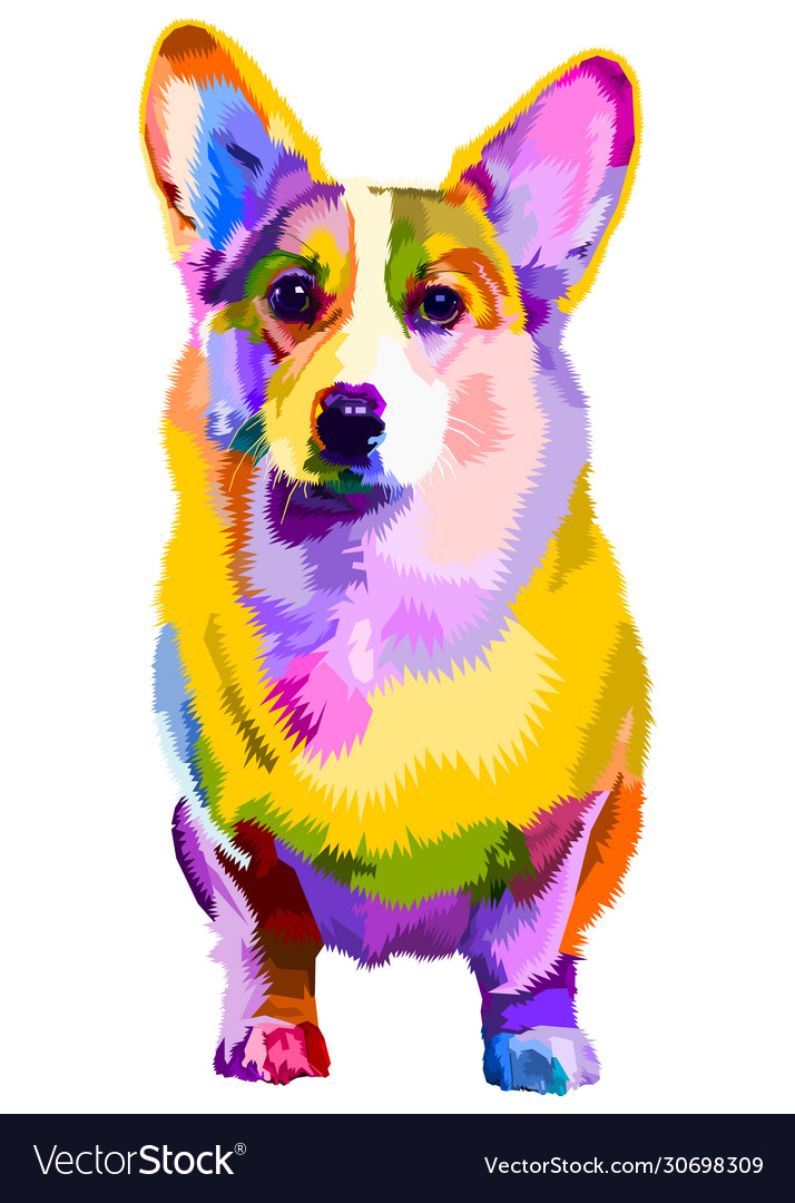 Colorful Corgi Dog On Pop Art Style Royalty Free Vector