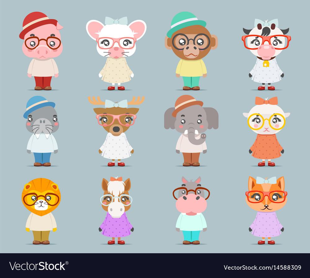 Geek hipster cute animal boy girl cubs mascot