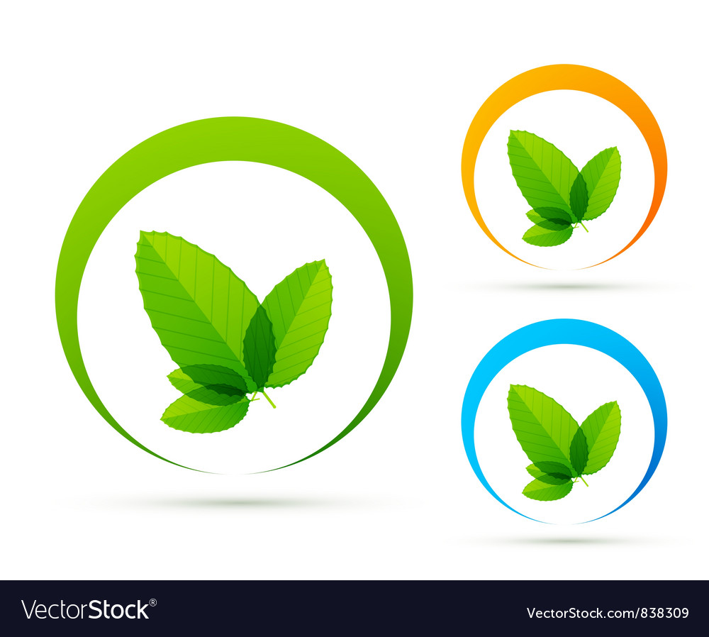 Green concept icons vector image