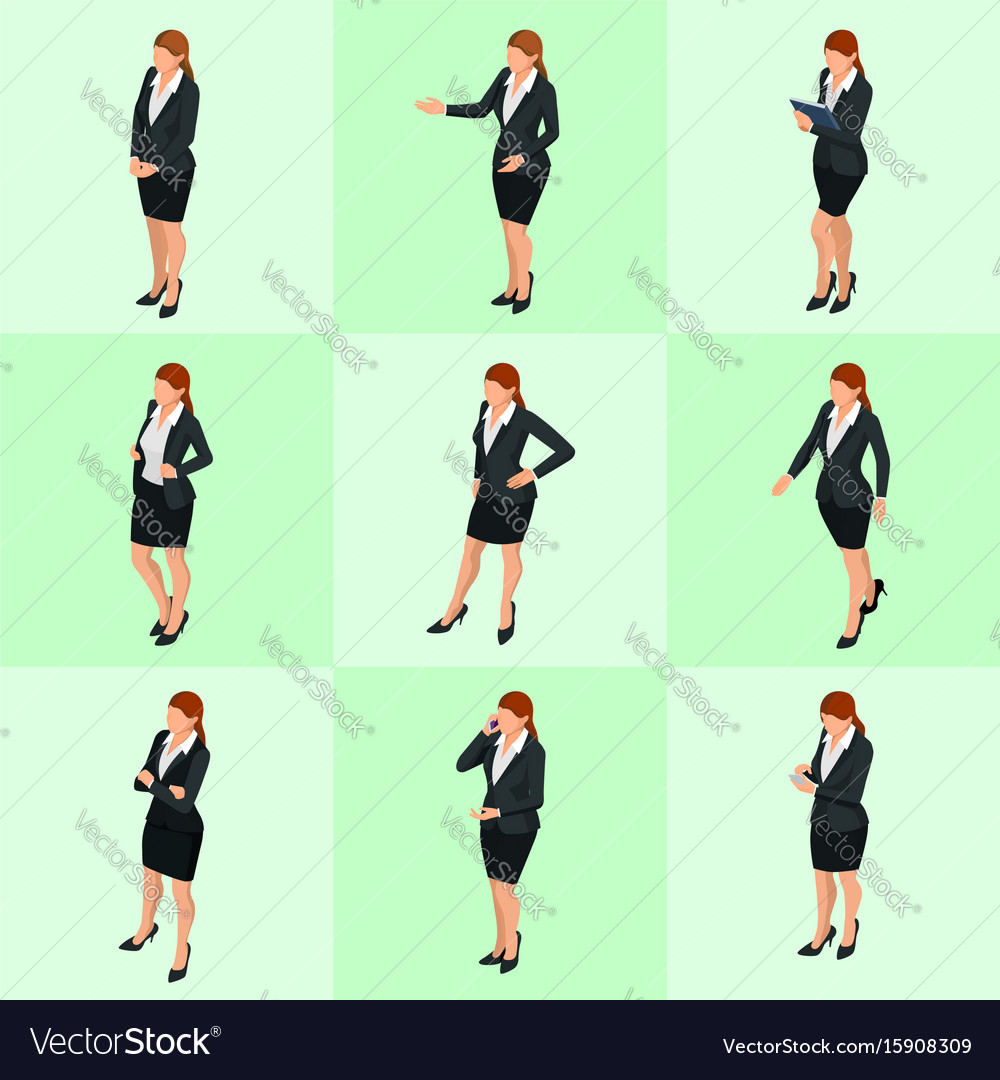Isometric elegant business women in formal clothes