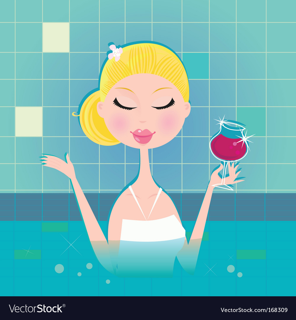 Lady with drink in whirlpool vector image