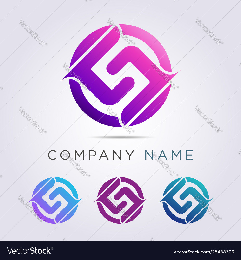 Logo template circle shape and letter g j for