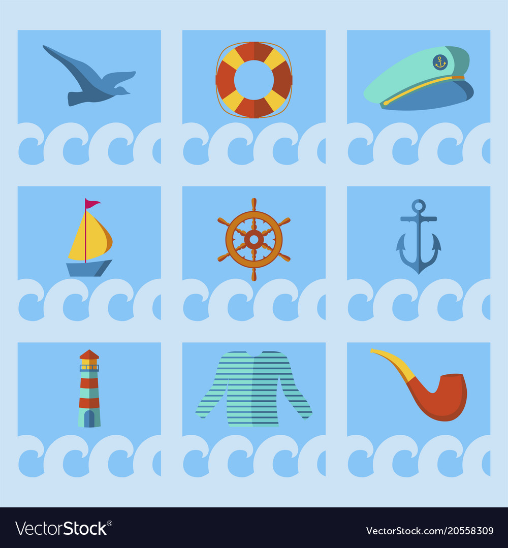 Nautical animal elements wave ocean sea blue