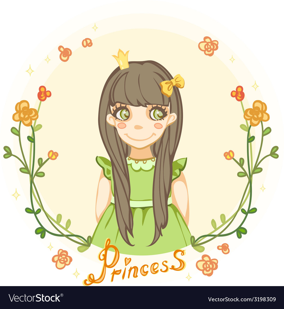 Princess girl in the floral frame