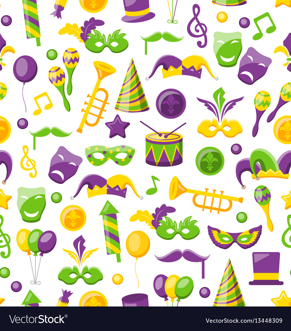 Seamless texture with set carnival and mardi gras
