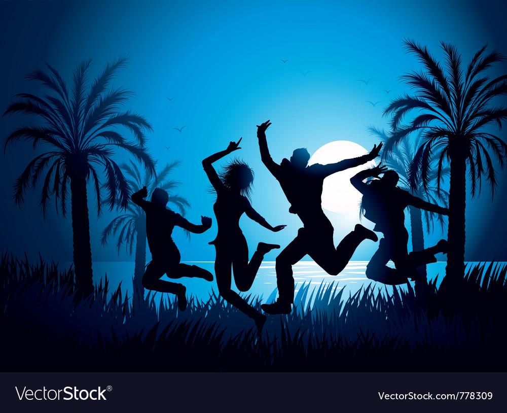 Tropical beach dancers vector image
