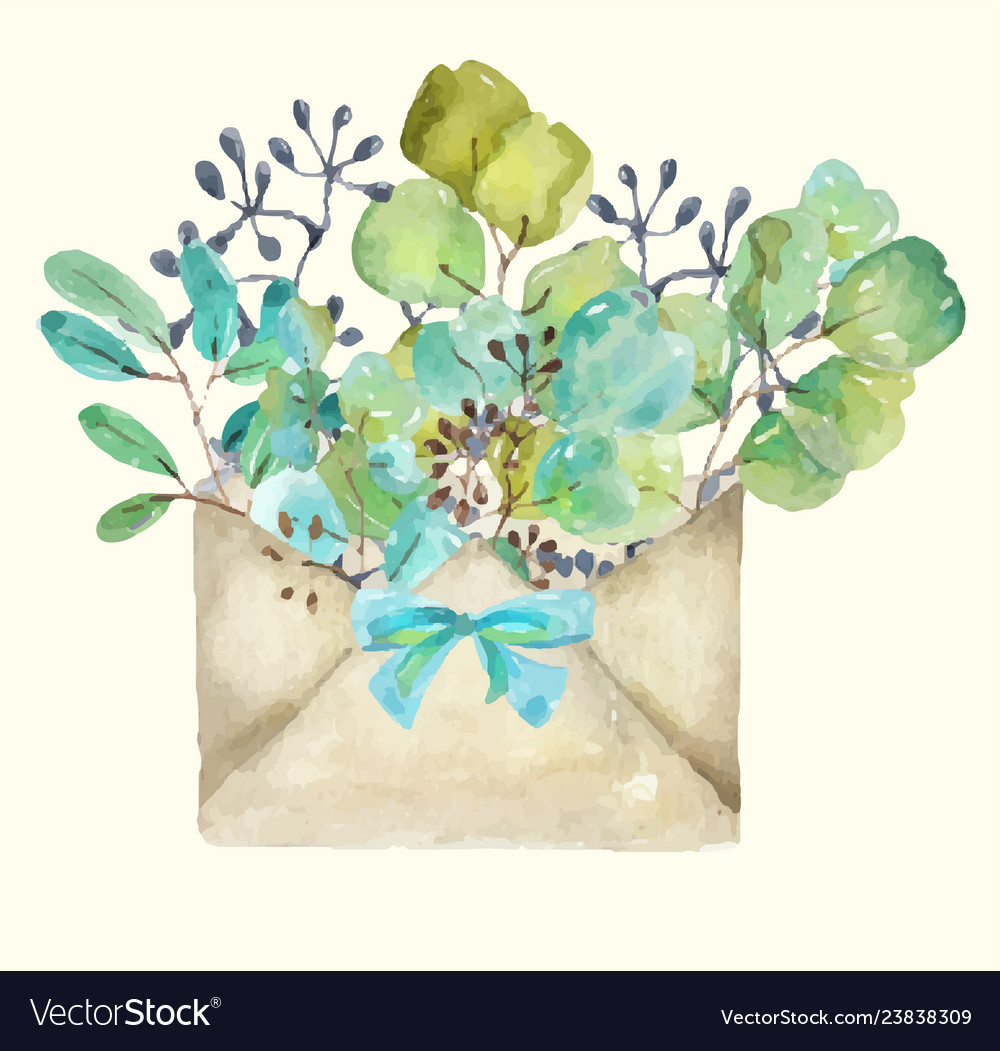 Watercolor paper envelope with leaves and seeds