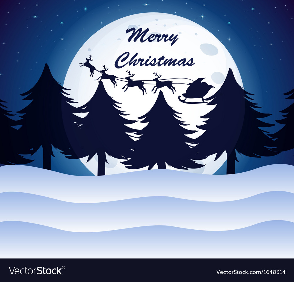a christmas template with a moon pine trees and vector image