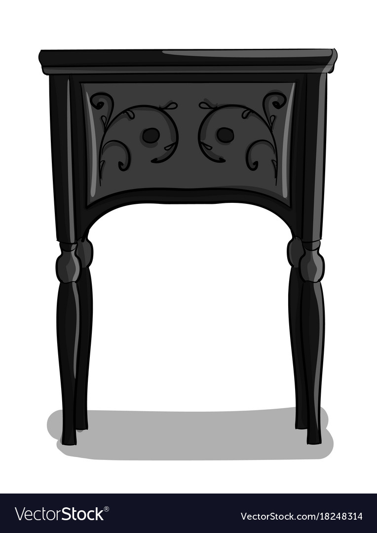 A wooden bedside table with black and gray carved