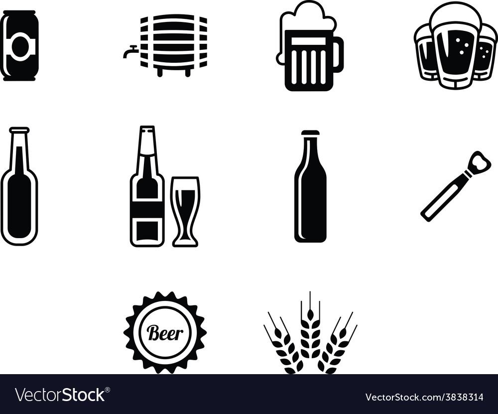 Black beer icons set vector image