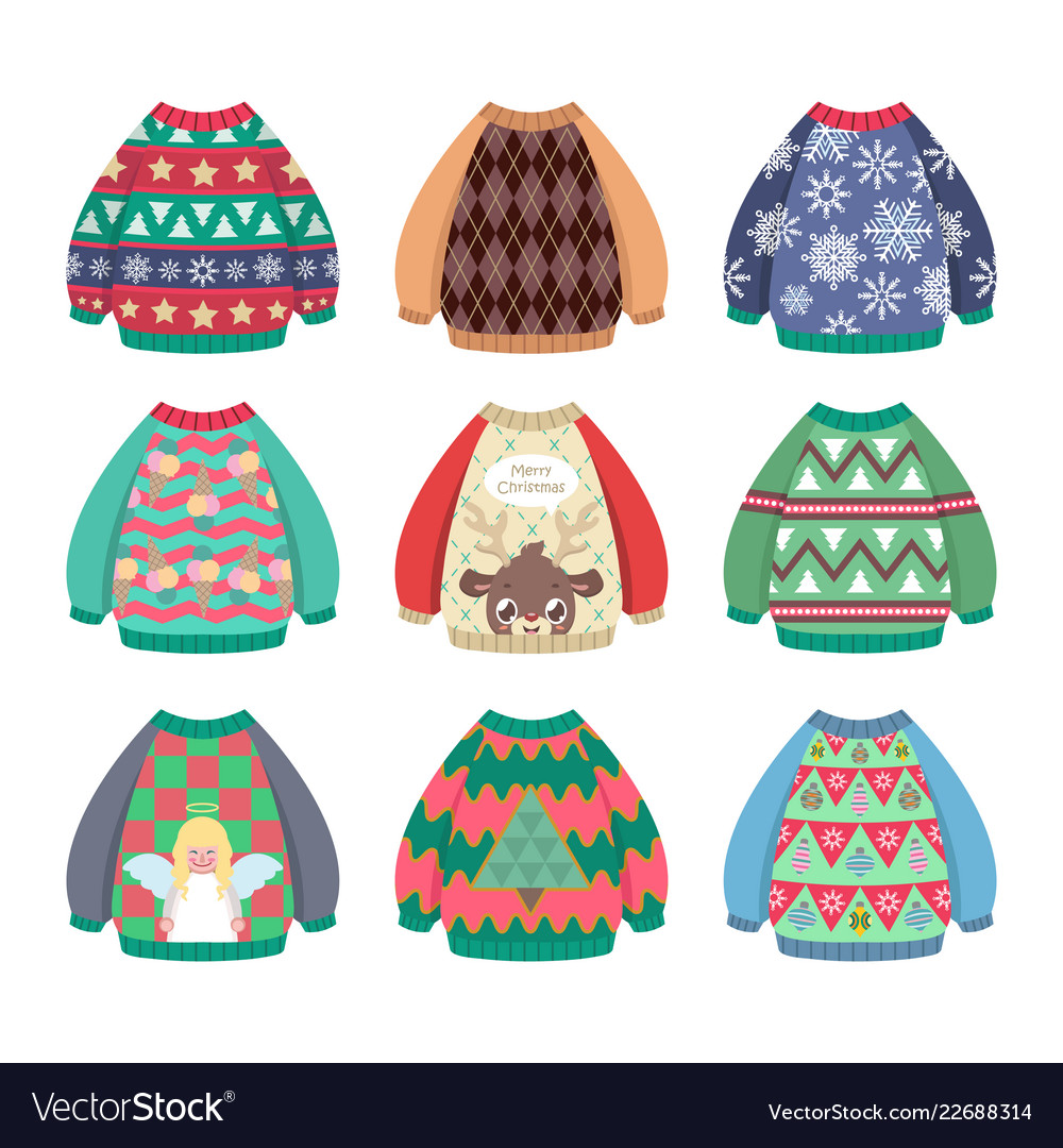 Collection of ugly colorful christmas sweaters