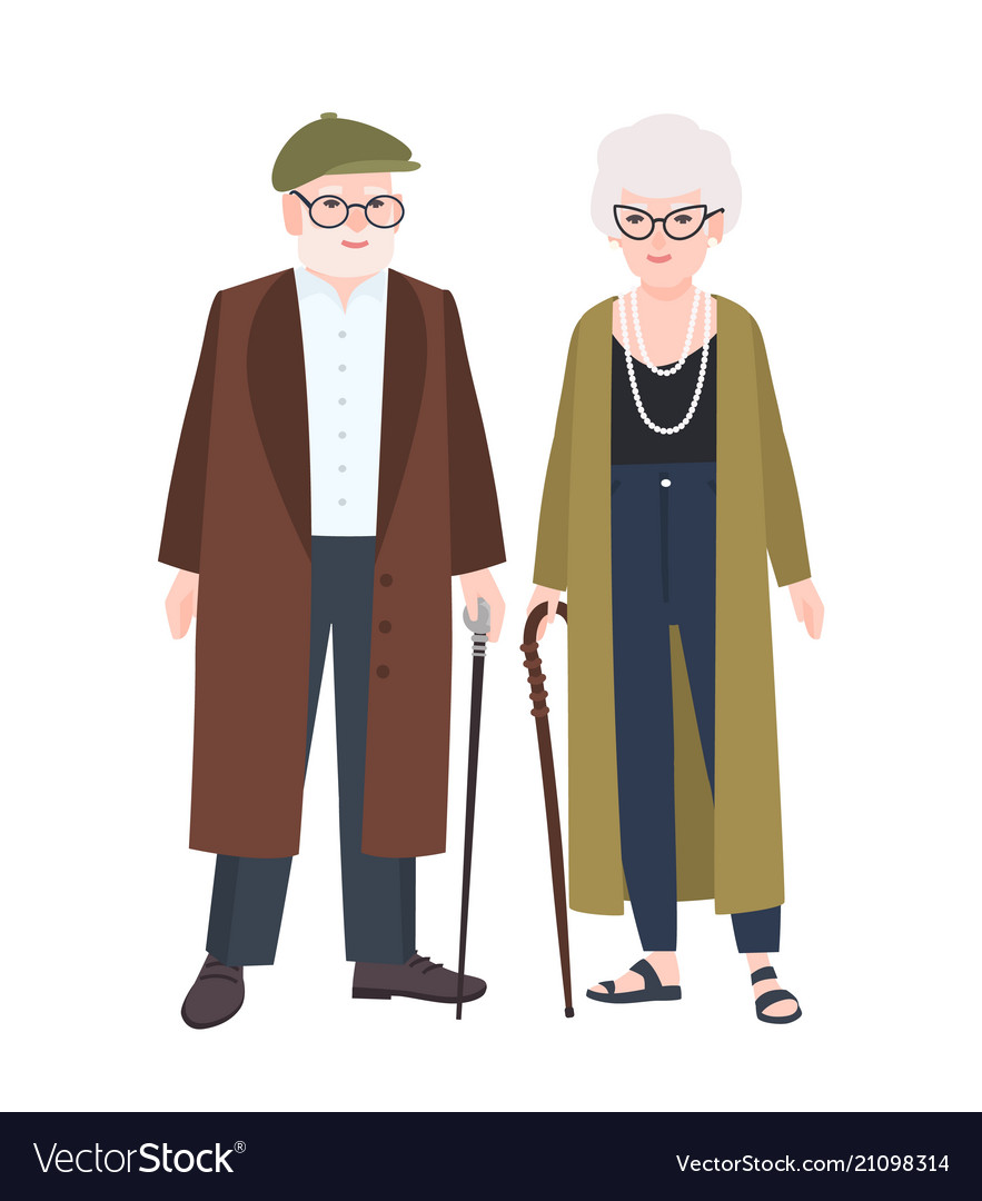 Cute elderly couple or grandparents pair of old vector image