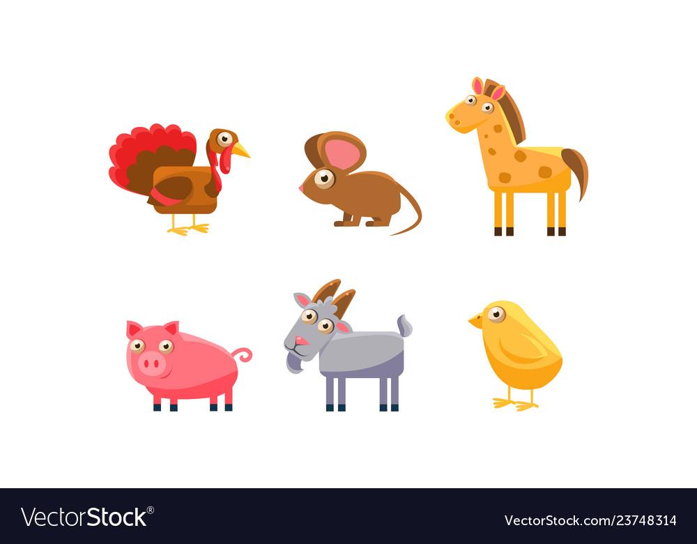 Cute farm animals set turkey horse pig goat