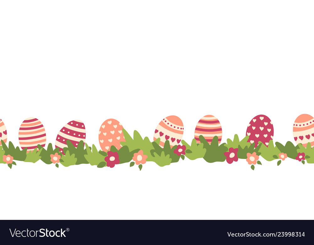 Easter eggs seamless border flower bushes