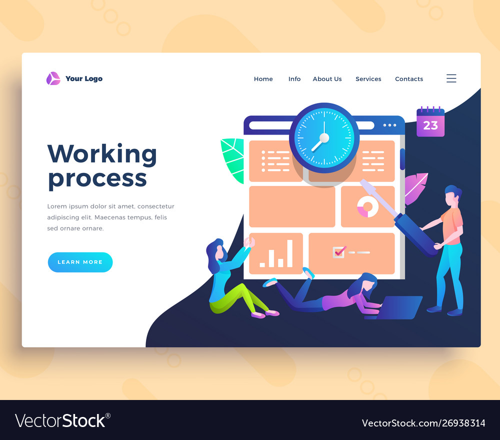 Landing page template working process concept