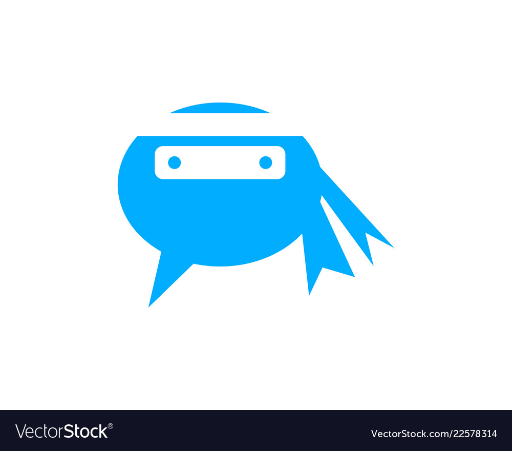 ninja chat logo design template royalty free vector image