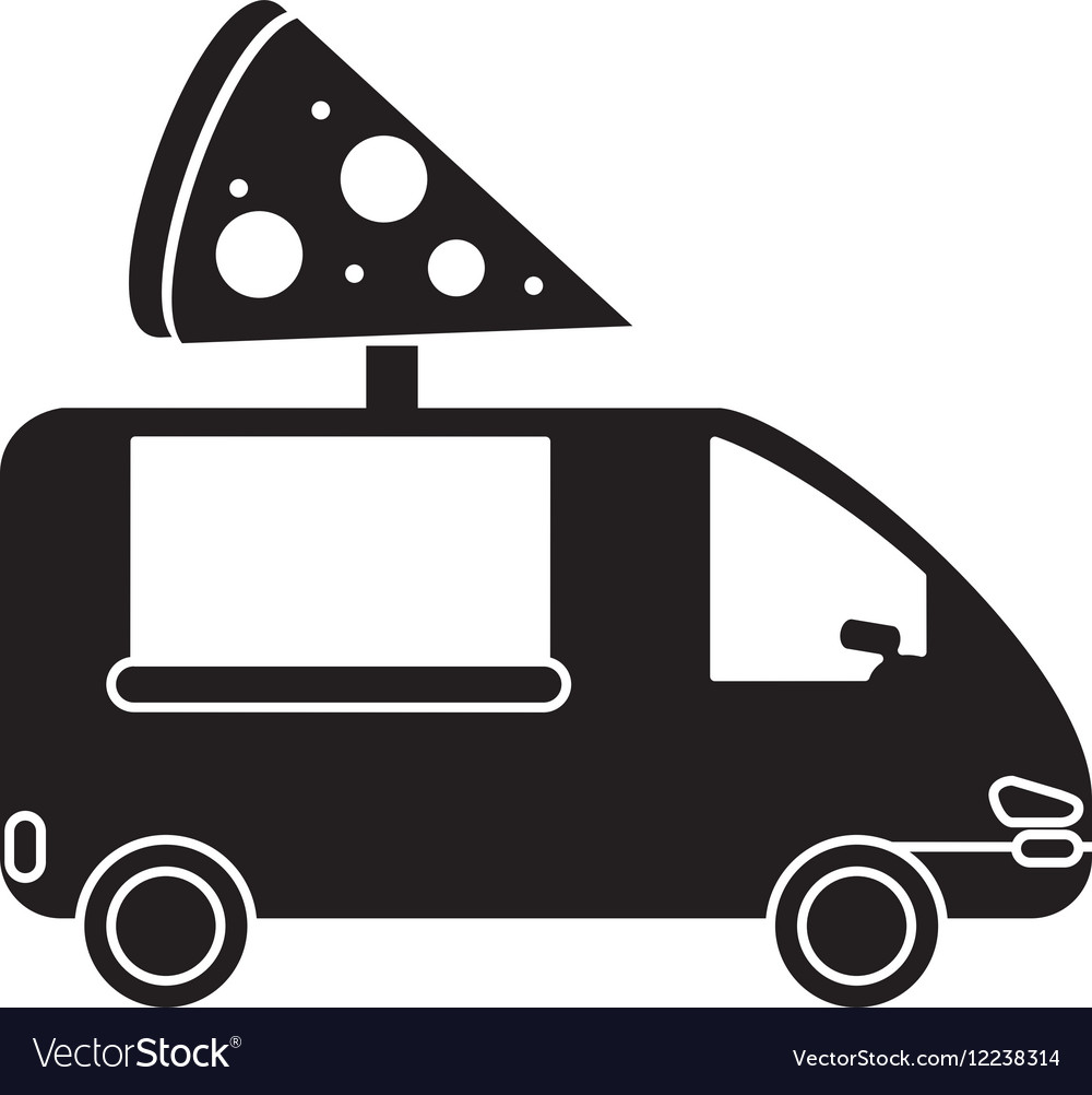 Pizza delivery truck fast food pictogram