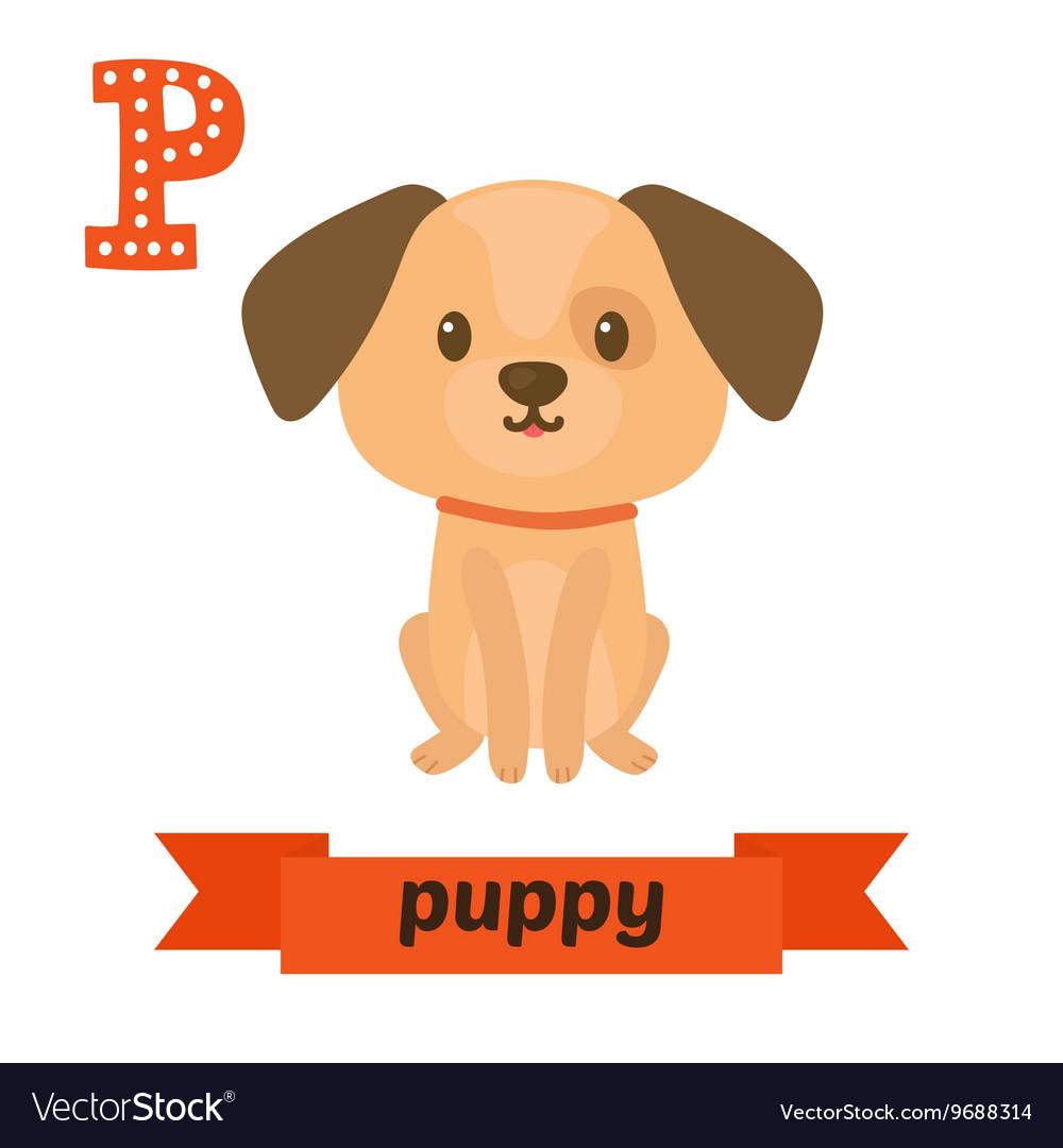 Puppy P letter Cute children animal alphabet in