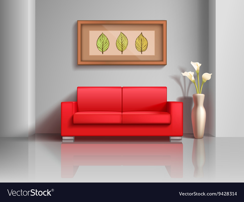 Enjoyable Realistic Red Sofa And Flowerpot In Living Room Gmtry Best Dining Table And Chair Ideas Images Gmtryco